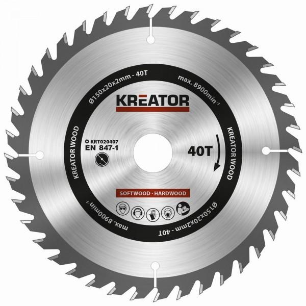 Kreator KRT020407 - Pilový kotouč na dřevo 150mm, 40T