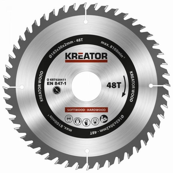 Kreator KRT020411 - Pilový kotouč na dřevo 165mm, 48T