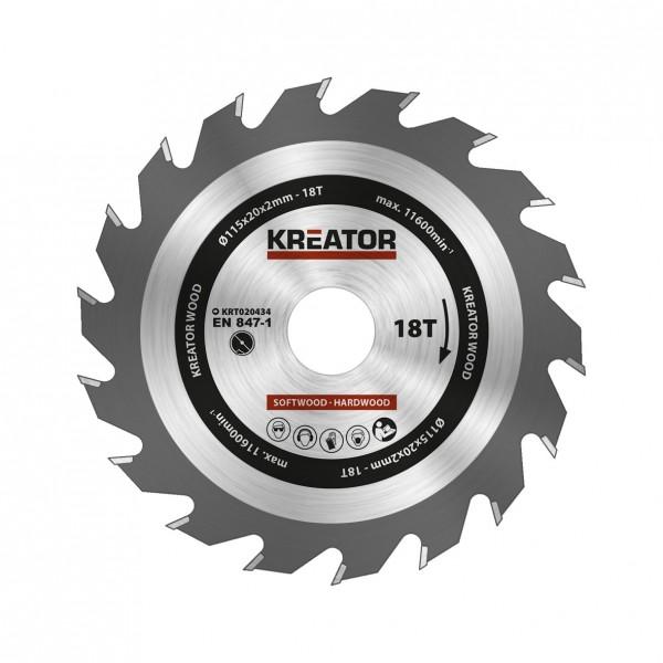 Kreator KRT020434 - Pilový kotouč na dřevo 115mm, 18T