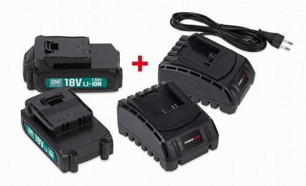 PowerPlus POWEB9090 - Sada 2x baterie 18V LI-ION 1.5Ah plus 2x nabíječka