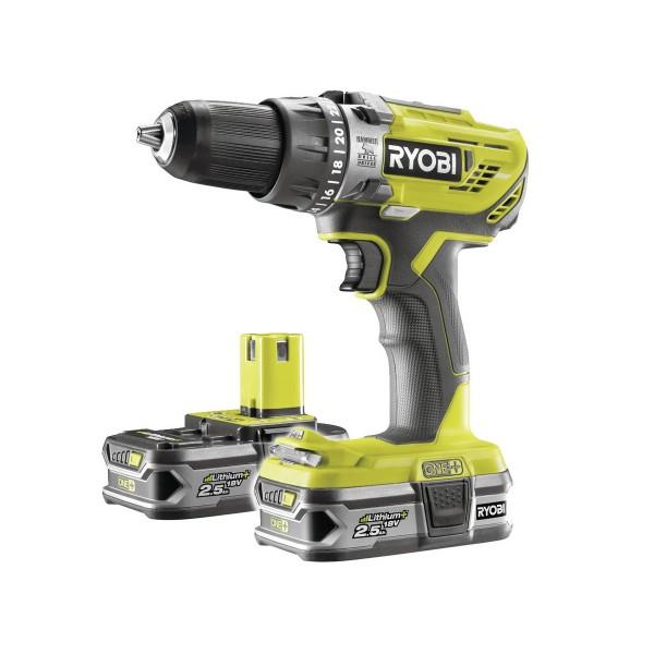 Ryobi R18PD3-225S aku 18 V vrtačka + 2x baterie 2,5 Ah + nabíječka ONE+