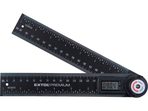 Extol Premium - digitální úhloměr, s pravítkem 200mm