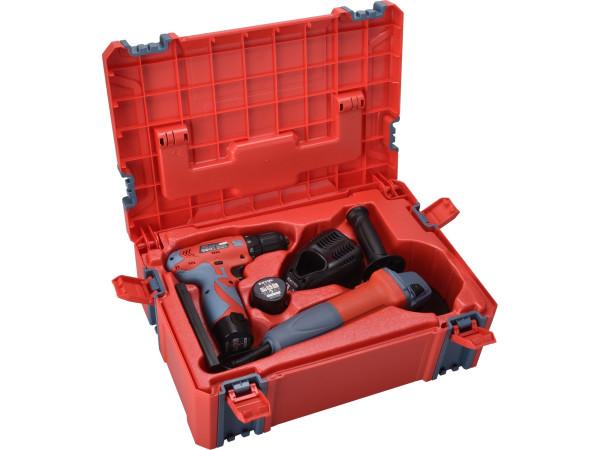 Extol Premium 8898311 vrtačka aku, 12V Li-ion (2x) a bruska úhlová 125mm v plastovém boxu