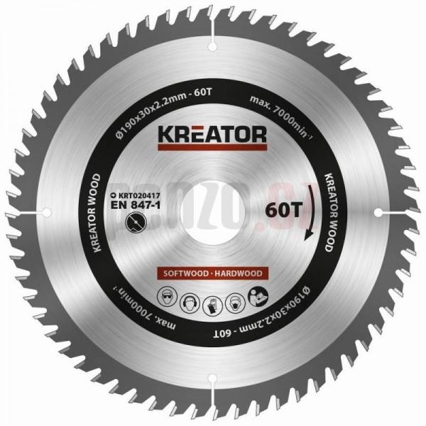 Kreator KRT020417 - Pilový kotouč na dřevo 190mm, 60T